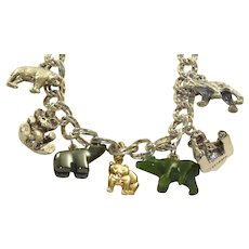 Estate 9 Bear 14K/ Sterling Charm Bracelet