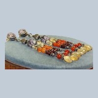 Estate Sterling Semi-Precious Stone Drop Earrings