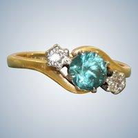 Estate English 18 K 0.75 CT Blue Zircon and Diamond Ring