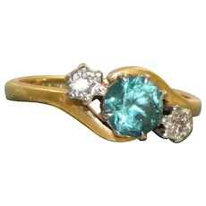 Estate English 18 K 0.75 CT Blue Zircon and Diamond Ring