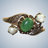 Estate 14K Jade and Baroque Pearl Victorian Ring
