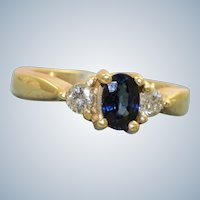 Estate 14K 0.40 CT Blue Sapphire and Diamond Ring