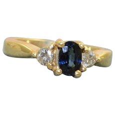Estate 14K 0.40 CT Blue Sapphire and Diamond Ring