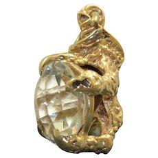 9K Rock Crystal Claw Pendant