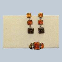 Baltic Amber Set in Sterling Silver