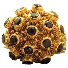 Estate 19K Byzantine Garnet Sputnik Poison Ring