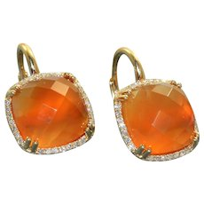 Estate 14K Carnelian and Diamond Dangle Earrings