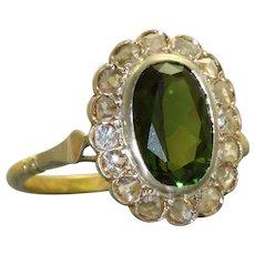 Estate 18K/Sterling Tourmaline and Rose Cut Diamond Ring
