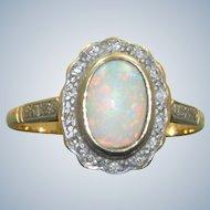 Estate 18K/Platinum Opal and Diamond Cluster Ring