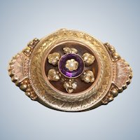 Late 19th Century Amethyst Split Pearl Locket Brooch