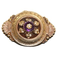 Late 19th Century Amethyst Split Pearl Locket Brooch