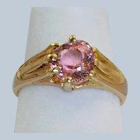18 CT London 1901  Pear Shaped 1.82 CT Pink Tourmaline Ring