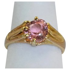 18 CT London 1901  Pear Shaped 1.82 CT Pink Tourmaline Ring