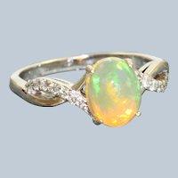 18KW 1.25 CT Ethiopian Opal and Diamond Ring