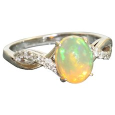 18KW 1.25 CT Ethiopian Opal and Diamond Ring