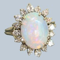 14KW 2.13 Oval Opal and Diamond Ring