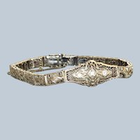 Estate 14K Diamond Filigree Bracelet