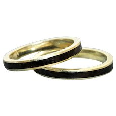 Estate 14K Black Enamel Ring Guards