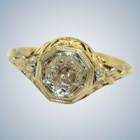 Vintage 14K Gold 0.25CT Rose Cut Diamond Filigree Ring