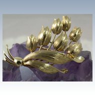 Estate Tiffany 14K Gold Tulip Brooch