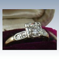 Estate 1940's 14K 0.45CT Diamond Ring