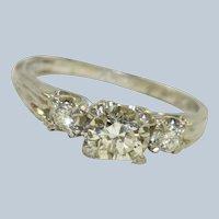 1940's Platinum 3  Diamond Ring 0.95 CT TW