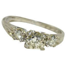 1940's Platinum 3  Diamond Ring 0.95 CT TW
