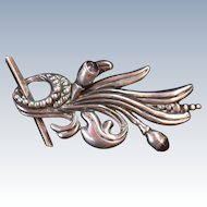 Signed Margot del Taxco Brooch of Sterling and Iolite