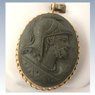 Estate 18K Lava Cameo of Roman Soldier