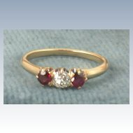 Estate 14K 0.25 CT Genuine Ruby Ring