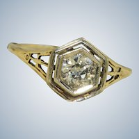 Estate 14K Two-Toned 0.68 CT Old European Cut Solitaire