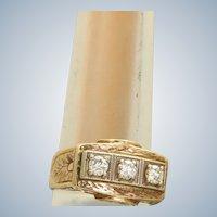 Estate 18K Hand Chased 0.60CT Diamond Ring