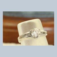 Estate 14KW 0.65CT Round Brilliant Diamond Ring