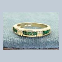 Estate 14K Emerald Band