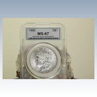 MS 67 1890 Morgan Silver Dollar