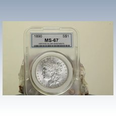 MS 67 1890 Morgan Silver Dollar