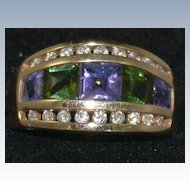 Kabana 14K Amethyst Peridot and Diamond Ring