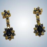 Estate 14K Sapphire and Yellow Diamond Drop Earrings