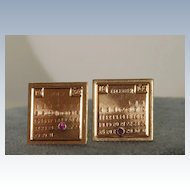 Estate 14K and Ruby Calendar Cuff Links
