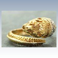 Vintage 18K Rose Cut Diamond Dragon's Head Ring