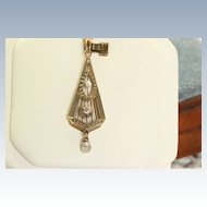 Estate 14K Diamond and Pearl Pendant