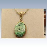 Estate 14K Lavalier Filigree Carved Jade Pendant