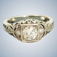 Estate 14K 0.85CT TW Diamond Filigree Ring