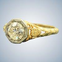 Estate 18K Jabel 1.03 CT Old European Cut Diamond Filigree Ring