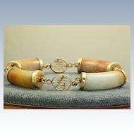 Estate 14K Multicolored Jade Bracelet