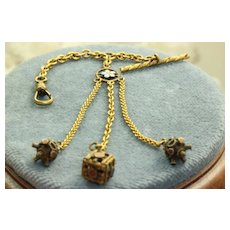 Estate 10K Enameled Watch Chain