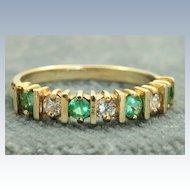 Estate 14 K Columbian Emerald Half Eternity Band