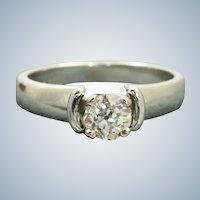 Estate 18KW Jabel 0.60 CT Old European Cut Diamond Ring
