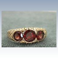 Estate 14 K Three Stone Garnet Gypsy Ring