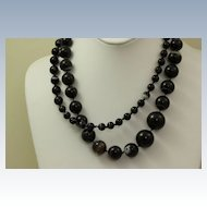 "Estate 38"" Graduated Banded Agate Necklace"